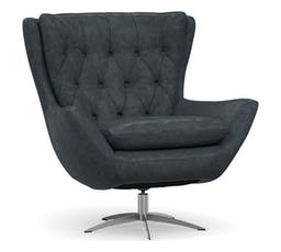 Wells Leather Swivel Armchair with Brushed Nickel Base, Polyester Wrapped Cushions, Statesville Indigo Blue