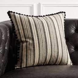 """18"""" Roulou Black and White Pom Pom Pillow with Down-Alternative Insert"""