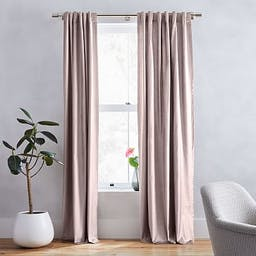"""Luster Velvet Curtain with Cotton Lining, Dusty Blush, 48""""x108"""""""