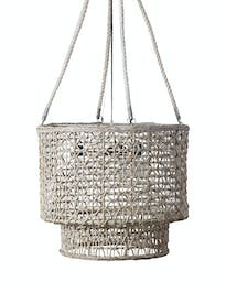 Dual Cask Hand Woven Natural Rope Chandelier White Wash