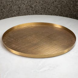 Plaid Etched Tray Brass