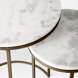 Round Nesting Side Table, Marble, Burnished Bronze