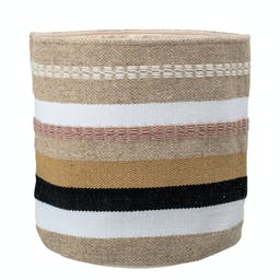 Fabric Basket with Stripes Multicolor