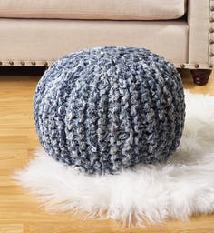 Denim Twisted Rope Pouf Navy Blue