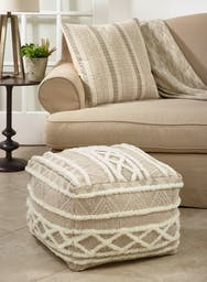 Printed and Embroidered Pouf Natural