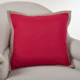 Solid Design Pillow w/Jute- Down Filled