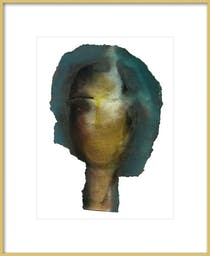 """Woman Head by Boriana Mihailovska, 16"""" X 20"""",  Contemporary - Frosted Gold Metal Frame, With Matte"""