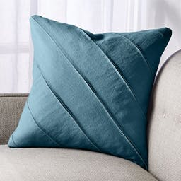 """Theta Teal Linen Pillow with Feather-Down Insert 20"""""""