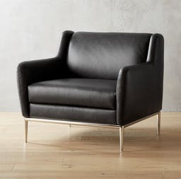 Alfred Black Leather Chair, Bello Black