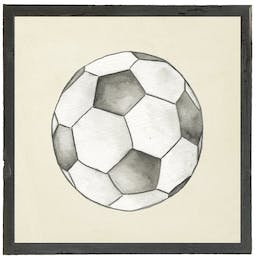 Watercolor Soccerball in barnwood distressed shadowbox White Kids' Wall Art