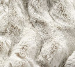 """Faux Fur Ruched Throw, 60 x 80"""", Ivory"""