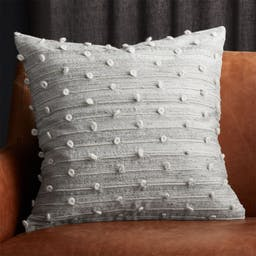 """20"""" Margaux Light Grey French Knot Pillow with Down-Alternative Insert"""