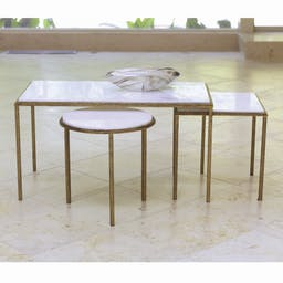 Hammered Square Table Gold