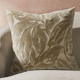 """Dvora Champagne Leaf Pillow with Feather-Down Insert 23"""""""