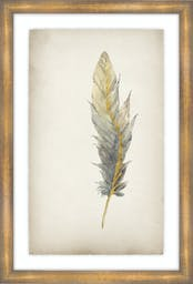 """Gilded Feathers IV, 25""""X37"""", Glass Framed Gilded Gold Wall Art"""