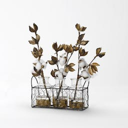 COTTON BRANCHES IN GLASS JARS IN METAL STAND