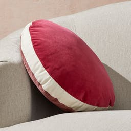 """Round Velvet Dusty Plum/Berry Pillow with Feather-Down Insert 18"""""""