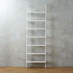 """Stairway White Wall-Mounted Bookcase - 96"""" Height"""