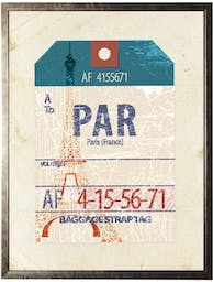 Paris travel ticket on distressed background in pewter shadowbox Blue Wall Art