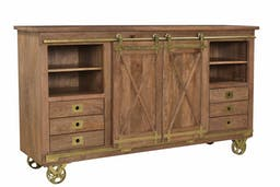 Wales Two Sliding Door Six Drawer Media Cabinet Brown