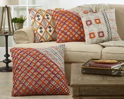 Block Print Embroidered Pillow Coral