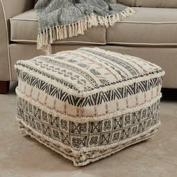 Printed + Tufted Pouf Natural