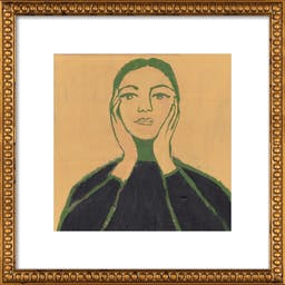 """Maria Callas by Michael Doyle, 16"""" X 16"""", Ornate - Gold Crackle Bead Wood Frame, With Matte"""