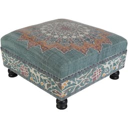 Bayview Upholstered Ottoman Blue