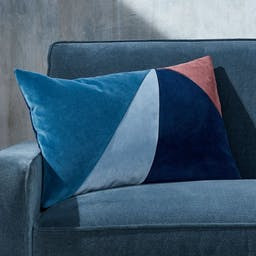 """Pieced Velvet Cool Pillow with Feather-Down Insert 22""""x15"""""""