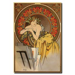 Vintage Mucha by Alphonse Mucha Wrapped Canvas Art Brown
