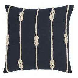 Knotted Rope Pillow  Navy Blue