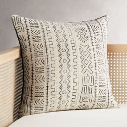 """20"""" White Mudcloth Pillow with Down-Alternative Insert"""