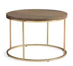 """Delaney Round Coffee Table, French Gray, 25""""L"""