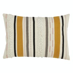 Corded Boucle Yarn Appliqué Pillow - Down Filled