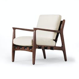 Mid-Century Leather Accent Chair Cream