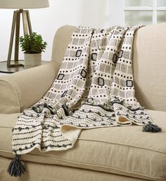 Block Print Embroidered Throw Ivory