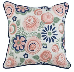 Qiana Pink Multi Square Pillow Pink, Green, Blue, White