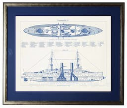 Ship 2, matted in navy, in silver and black frame Blue Wall Art