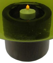 """Jamboree Candle Holder with Wooden Base green 9.75"""""""