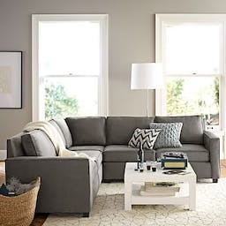 Henry Sectional Set 01: Corner, Left Arm Loveseat, Right Arm Loveseat, Poly, Performance Basketweave, Silver, Chocolate