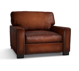 TURNER SQUARE ARM LEATHER ARMCHAIR WITH NAILHEADS
