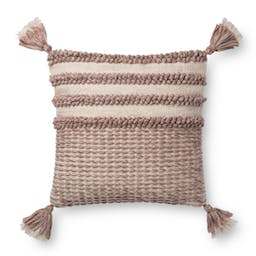 """Two Tone Knotted Row Pillow 18"""" x 18"""" Burgandy Blush / Ivory"""