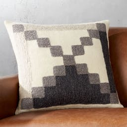 """18"""" Lumi Grey and White Pillow with Down-Alternative Insert"""