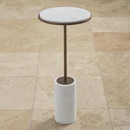 Short Cored Marble Table Bronze