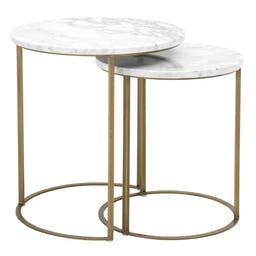 Amita Round Nesting Accent Table White Carrera Marble, Brushed Gold