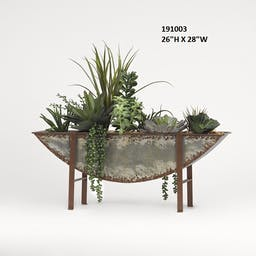 Assorted Succulents and Foliage in Half Moon Metal Planter Grey