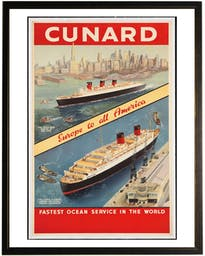 Cunard travel poster in copper and black frame Red Wall Art