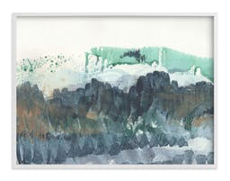 """Scape of the Land, 40""""X30"""", White Wood Frame, Agate Blue, Standard Plexi & Materials, Standard Borders & Matting"""