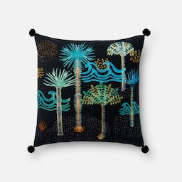 Embroidered Tree Pillow Black / Multi