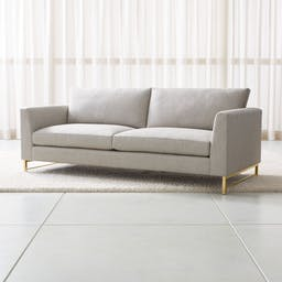 Tyson Sofa with Brass Base, Vail Storm